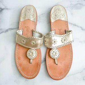 Jack Rogers Flat Sandal Platinum Gold Leather Shoe